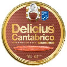 Anšovu fileja Cantabrico, olīveļļā, MSC, 8*90g (s.s. 55g), Delicius